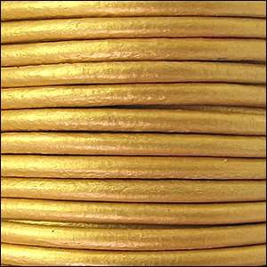 3mm Round Leather Cord - Metallic Gold