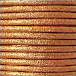 3mm Round Euro Leather Cord - Metallic Copper