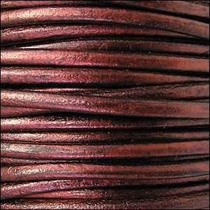 3mm Round Leather Cord - Metallic Bordeaux