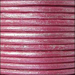 3mm Round Euro Leather Cord - Metallic Fuchsia