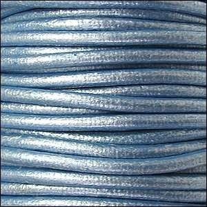 3mm Round Euro Leather Cord - Metallic Sky Blue