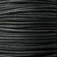 Suede 3mm ROUND Leather Cord - Black - per inch