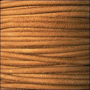 Suede 3mm ROUND Leather Cord - Apricot - per inch