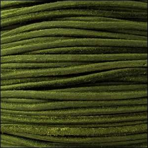 Suede 3mm ROUND Leather Cord - Hunter Green - per inch