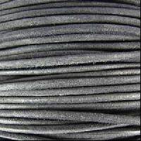Suede 3mm ROUND Leather Cord - Grey - per inch