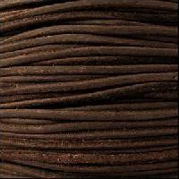 Suede 3mm ROUND Leather Cord - Dark Brown - per inch