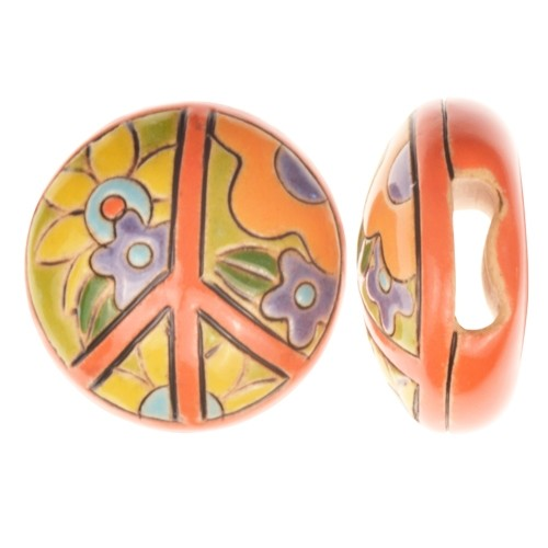 Golem Studio Slider Flat 10mm Round Peace Flowers - Orange