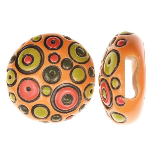 Golem Studio Slider Flat 10mm Round Cool Bubbles - Orange / Green / Red