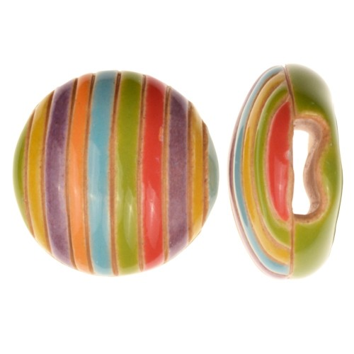 Golem Studio Slider Flat 10mm Round Funky Stripes - Rainbow
