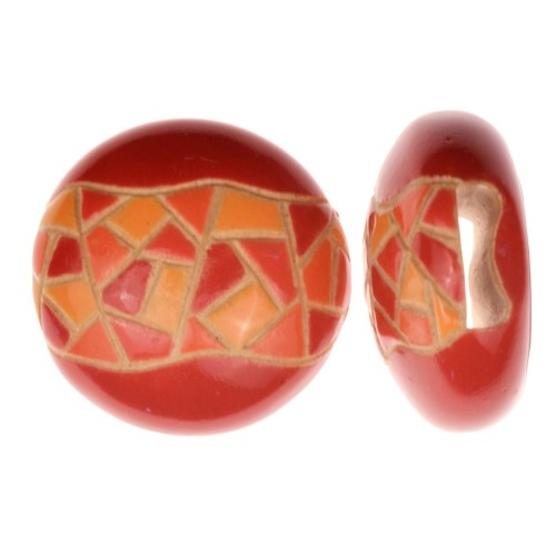 Golem Studio Slider Flat 10mm Round Barcelona Mosaic - Red / Orange