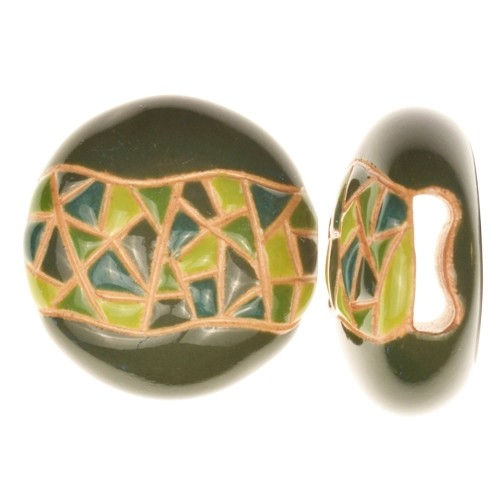 Golem Studio Slider Flat 10mm Round Barcelona Mosaic - Green