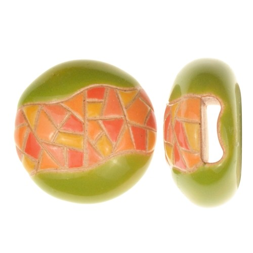 Golem Studio Slider Flat 10mm Round Barcelona Mosaic - Orange / Yellow / Green
