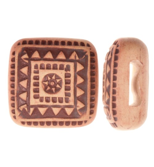 Golem Studio Slider Flat 10mm Square Tribal Square - Cream / Brown