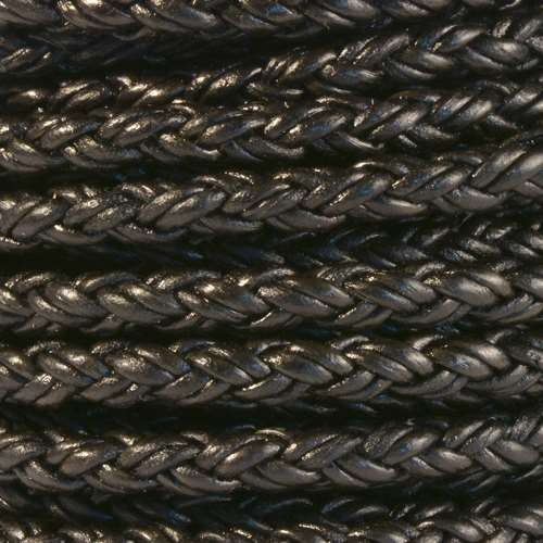 Bolo Braided 5mm Round Leather Cord - Natural Black