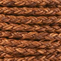 Bolo Braided 5mm Round Leather Cord - Natural Light Brown