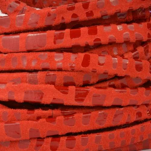 Cancun 5mm Flat Leather Cord - Red
