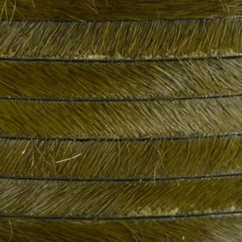 5mm flat HAIR ON leather KHAKI GREEN