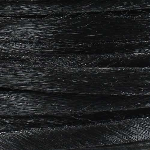 5mm flat HAIR ON leather BLACK