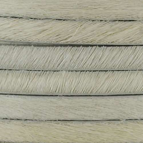 5mm flat HAIR ON leather OFF WHITE - per inch