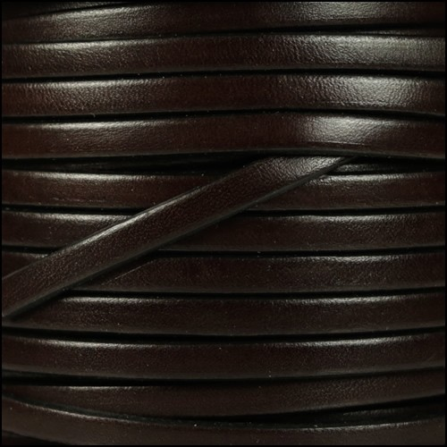 5mm Flat Leather Cord - Chocolate Brown