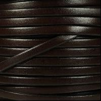 5mm Flat Leather Cord - Chocolate Brown - per inch