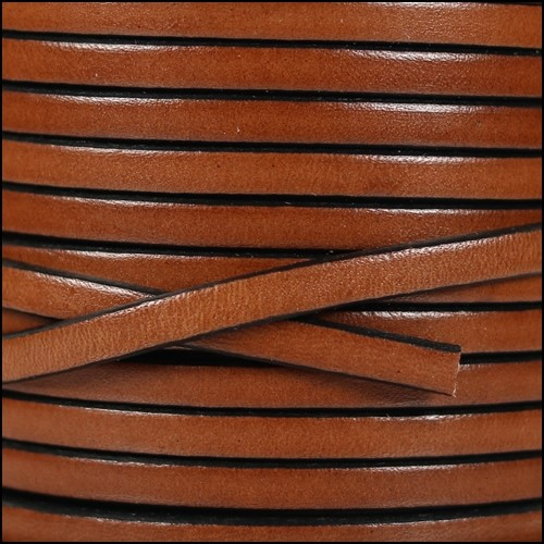 5mm Flat Leather Cord - Tan / Black
