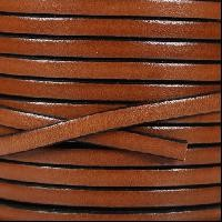 5mm Flat Leather Cord - Tan / Black - per inch