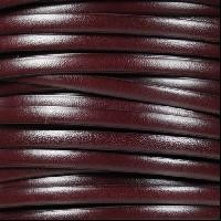 5mm Flat Leather Cord - Burgundy / Black
