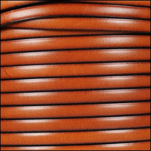 5mm Flat Leather Cord - Burnt Orange