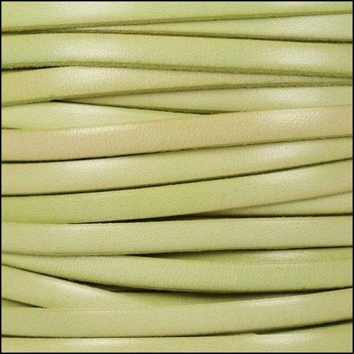 5mm Flat Leather Cord - Distressed Pastel Green