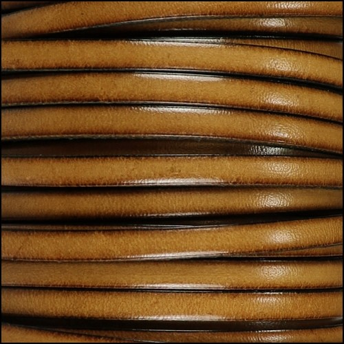 5mm Flat Leather Cord - Cedar