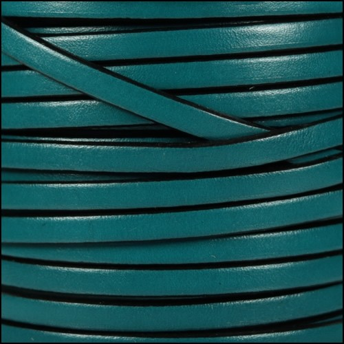 5mm Flat Leather Cord - Turquoise / Black
