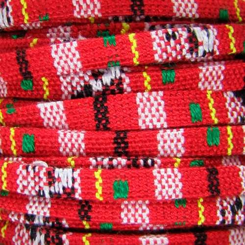 Cotton 5mm FLAT Cord - Bright Red