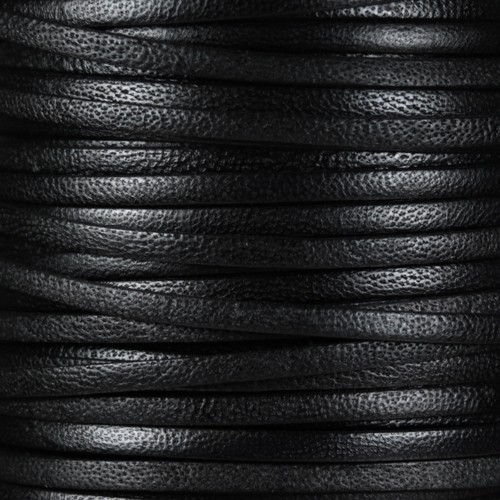 Camel 5mm Flat Leather Cord - Black - per inch