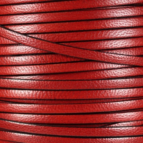 Camel 5mm Flat Leather Cord - Blood Orange - per inch