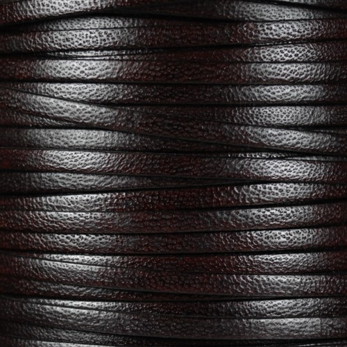 Camel 5mm Flat Leather Cord - Dark Brown - per inch