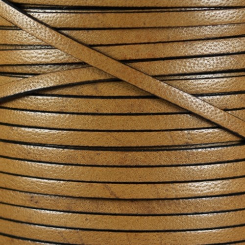 Camel 5mm Flat Leather Cord - Light Brown - per inch