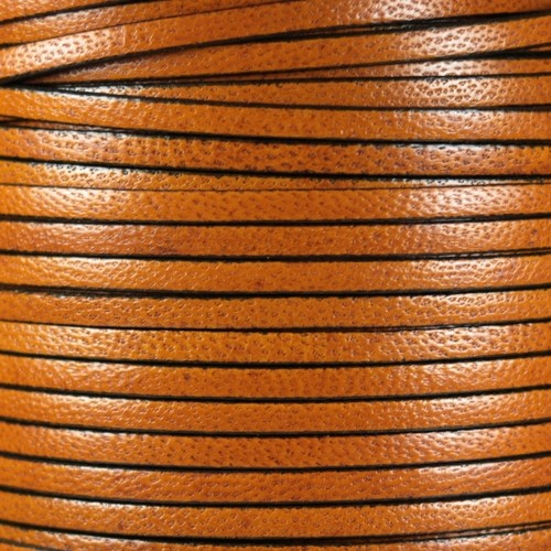 Camel 5mm Flat Leather Cord - Caramel