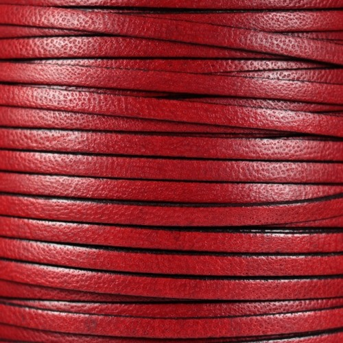 Camel 5mm Flat Leather Cord - Red - per inch
