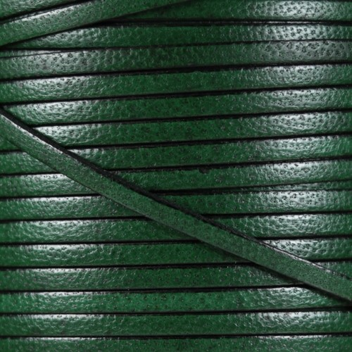 Camel 5mm Flat Leather Cord - Forest Green