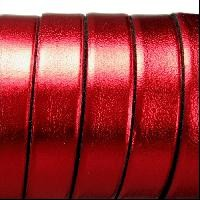 Electric Metallic 5mm Flat Leather Cord - Red - per inch