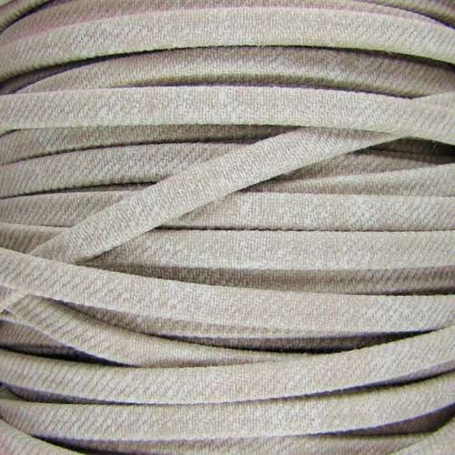 Faded Denim 5mm Flat Knit Cord - Beige