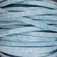 Faded Denim 5mm Flat Knit Cord - Light Denim - per inch