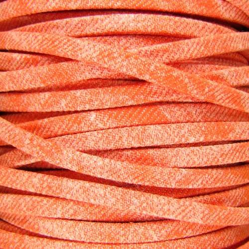 Faded Denim 5mm Flat Knit Cord - Orange
