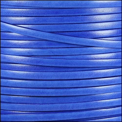 Italian Dolce 5mm Flat Leather Cord - Blueberry - per inch