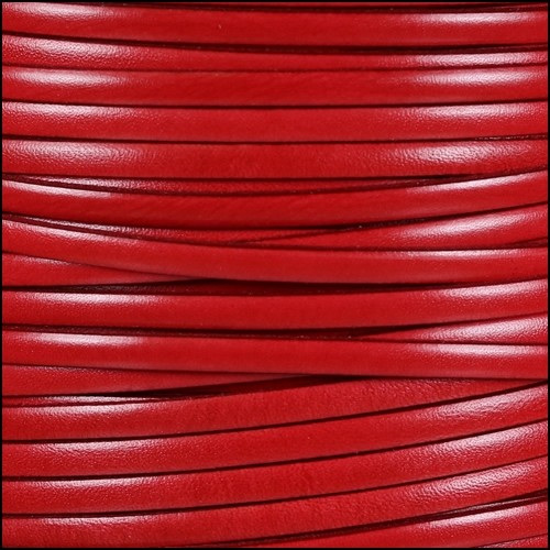 Italian Dolce 5mm Flat Leather Cord - Tomato