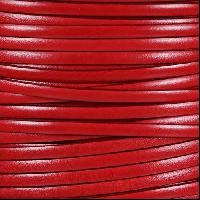 Italian Dolce 5mm Flat Leather Cord - Tomato - per inch