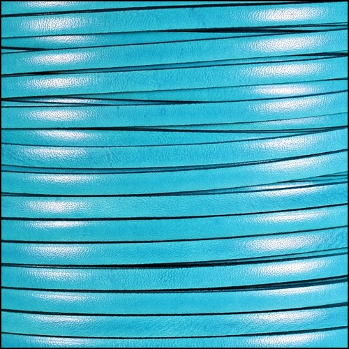 Italian Dolce 5mm Flat Leather Cord - Turquoise - per inch