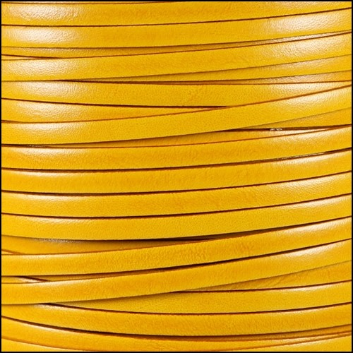 Italian Dolce 5mm Flat Leather Cord - Buttercup
