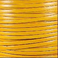 Italian Dolce 5mm Flat Leather Cord - Buttercup - per inch